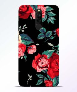 Red Floral Redmi 8 Back Cover