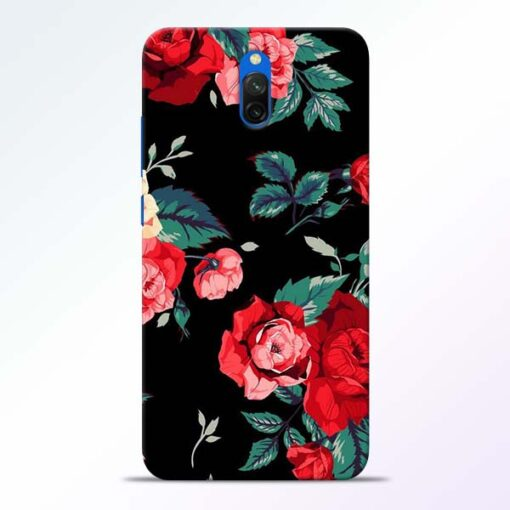 Red Floral Redmi 8A Dual Back Cover