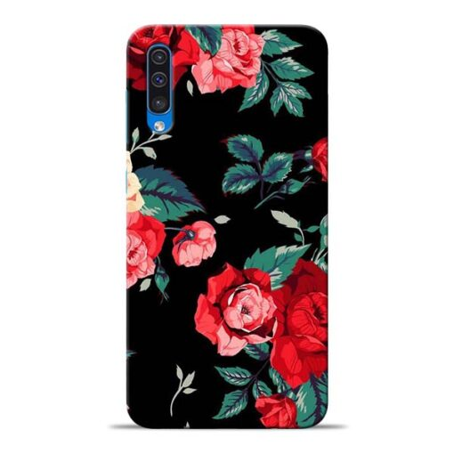 Red Floral Samsung Galaxy A50 Back Cover